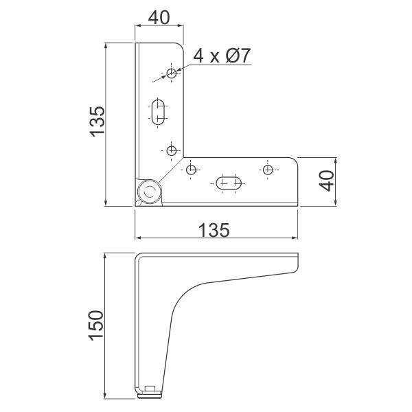 Nogica STGY H150, 135×135 – Tehnicki podaci