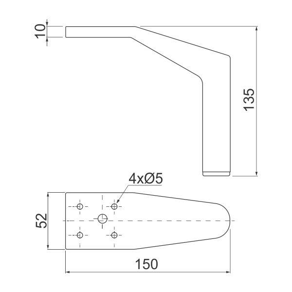 Nogica za nameštaj NM-STPL-135 – Tehnički podaci