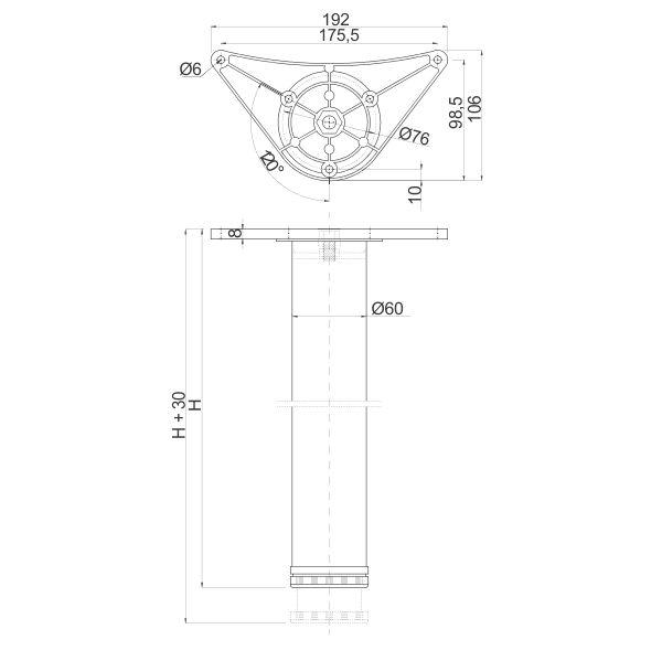 Noga za sto INNOVO ∅60 x 1100mm – Tehnicki podaci
