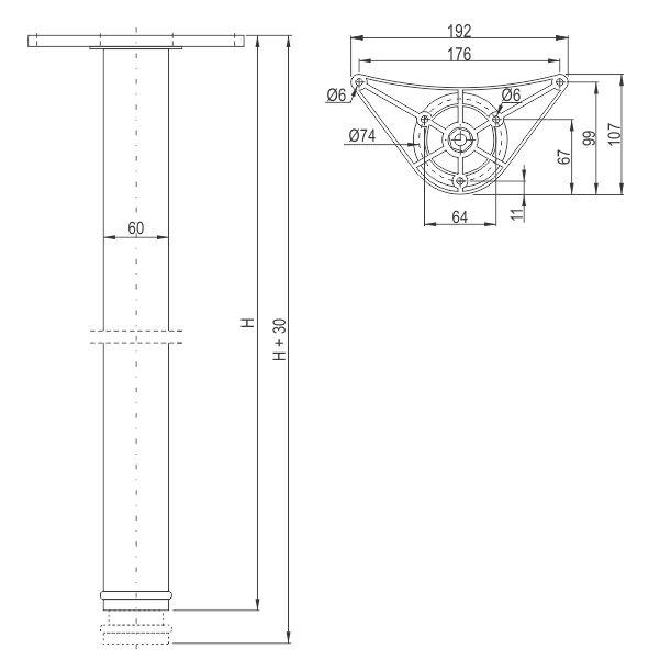 Noga za sto ∅60 x 710mm – Tehnicki podaci