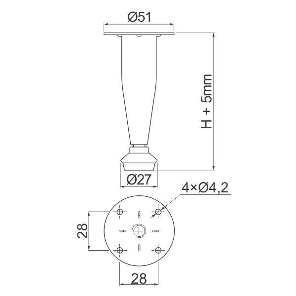 konusna-nogica-H100-fi28-hrom-tehnicki-podaci